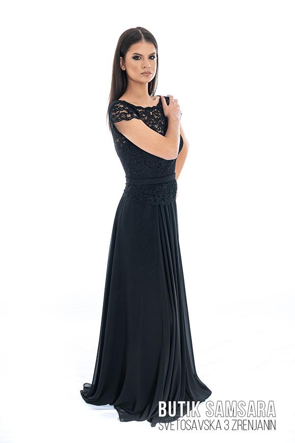 butik samsara zrenjanin zenska duga cipkana crna haljina 024