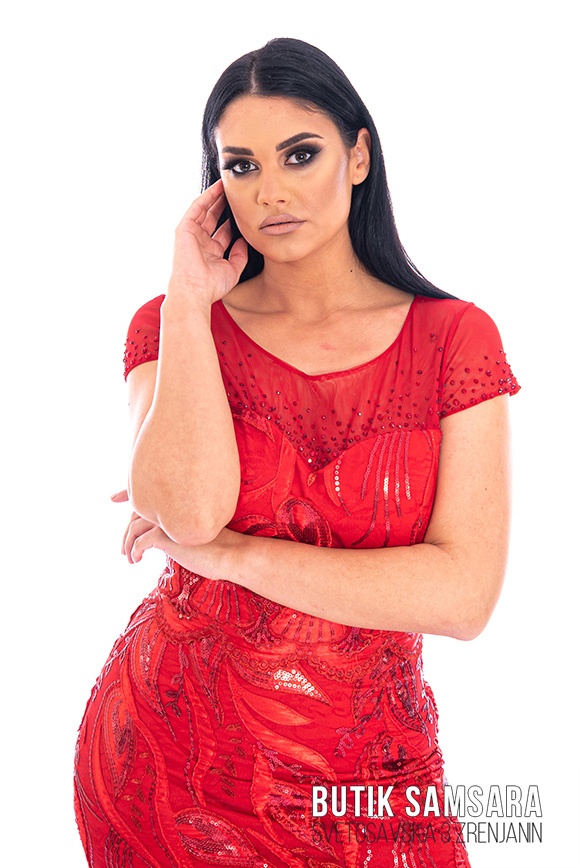 butik samsara zrenjanin zenska duga crvena svecana haljina 018