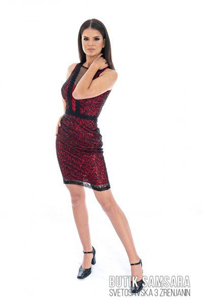 butik samsara zrenjanin zenska crveno crna haljina 021