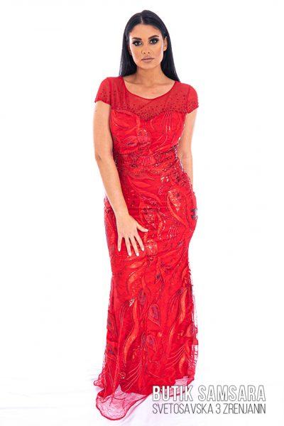 butik samsara zrenjanin zenska duga crvena svecana haljina 021